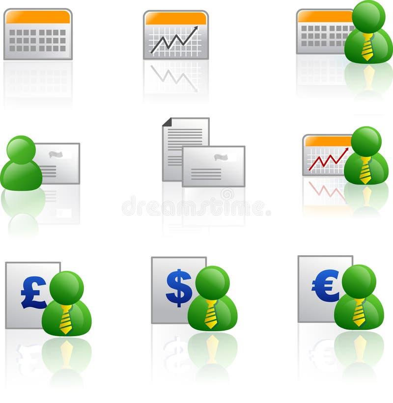 Icono del asunto y de las finanzas (columna stock de ilustración