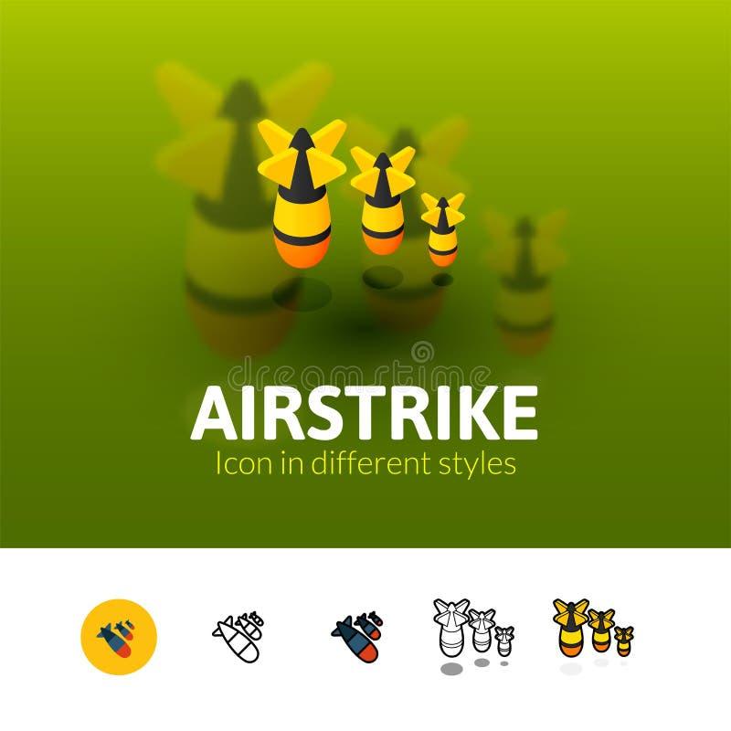Icono del ataque aéreo en diverso estilo stock de ilustración