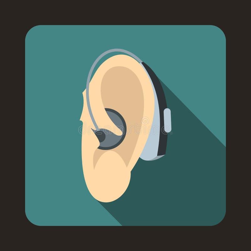 Icono del audífono, estilo plano ilustración del vector