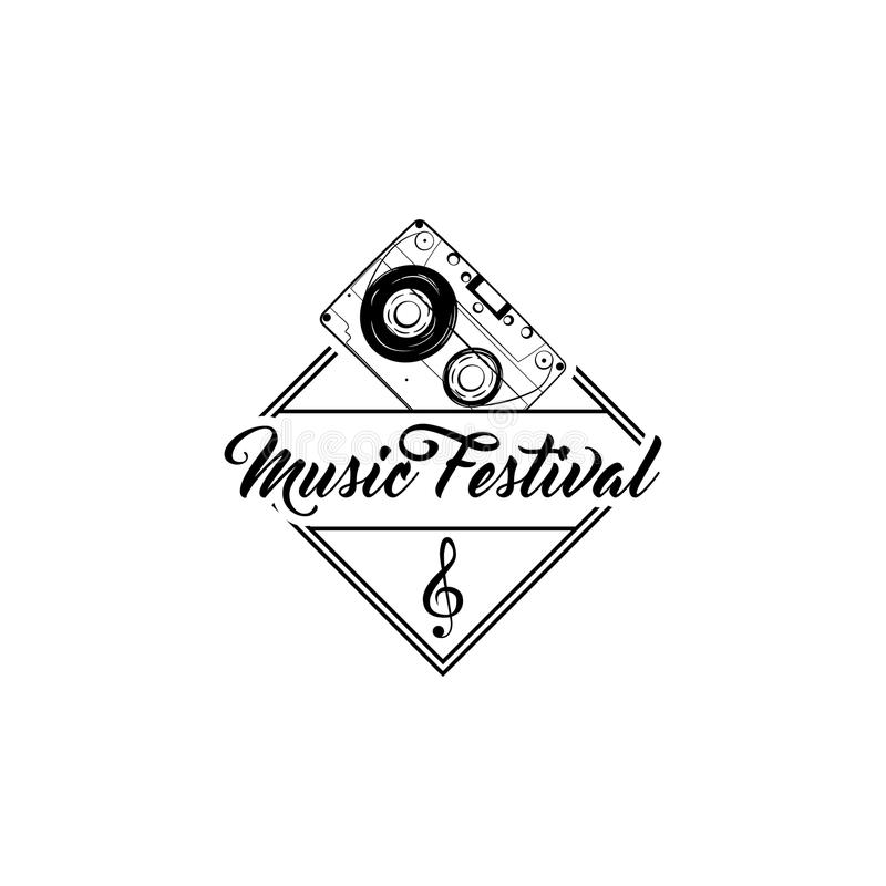 Icono del audiocasette, insignia de la clave de sol Etiqueta del embelm del logotipo del festival de música Insignia de la música libre illustration
