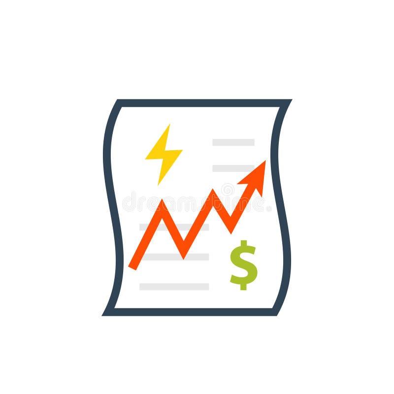 Icono del aumento de la factura de servicios públicos libre illustration