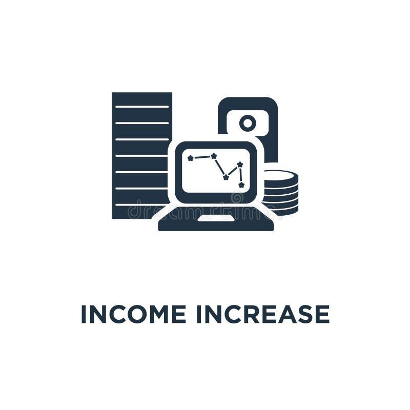 icono del aumento de la renta los analytics del funcionamiento financiero, dividendos representan gráficamente, informe de la pro stock de ilustración