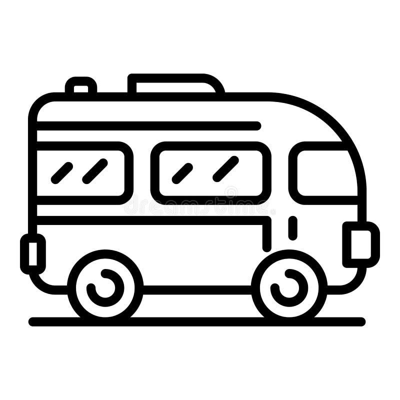 Icono del autobús de la excursión, estilo del esquema ilustración del vector