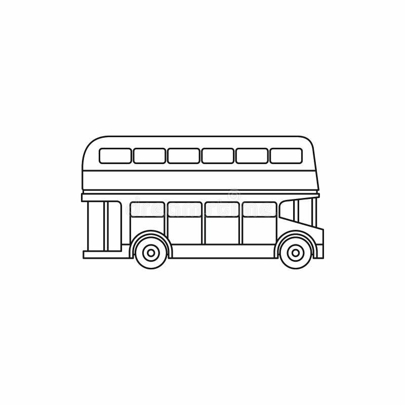 Icono del autobús del autobús de dos pisos, estilo del esquema libre illustration