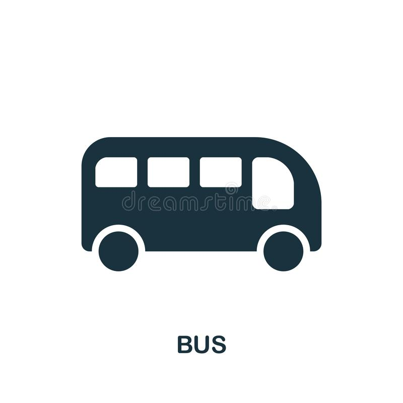 Icono del autobús en vector Diseño plano del icono del estilo Ejemplo del vector del icono del autobús pictograma aislado en blan stock de ilustración