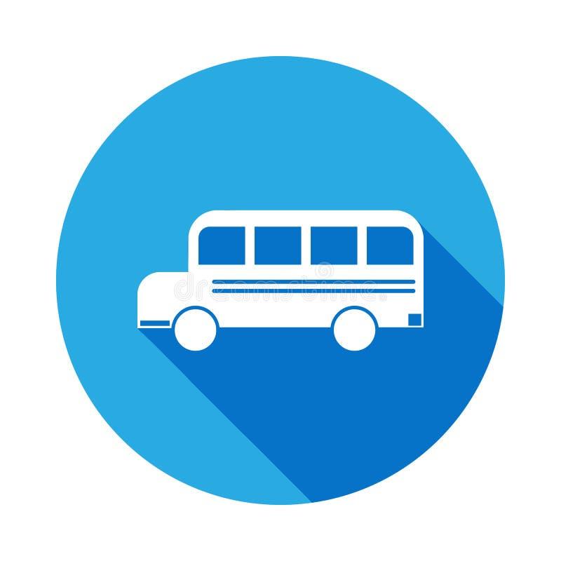 Icono del autobús escolar con la sombra larga Icono de la graduación del vector Educación, grado académico Muestras, colección de libre illustration