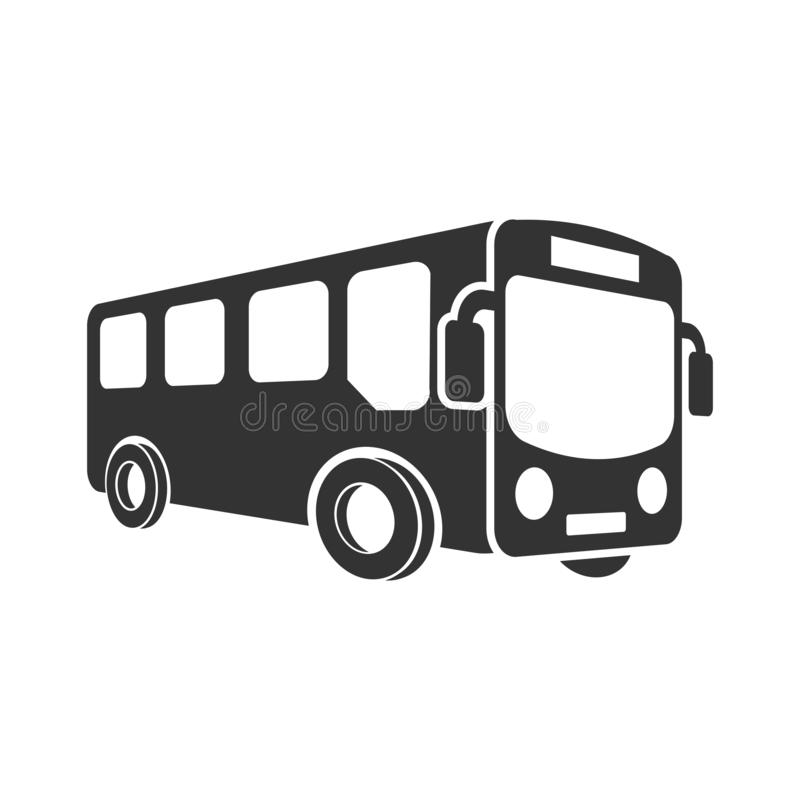 Icono del autobús escolar en estilo plano Ejemplo del vector del Autobus en el fondo aislado blanco Concepto del negocio del tran stock de ilustración