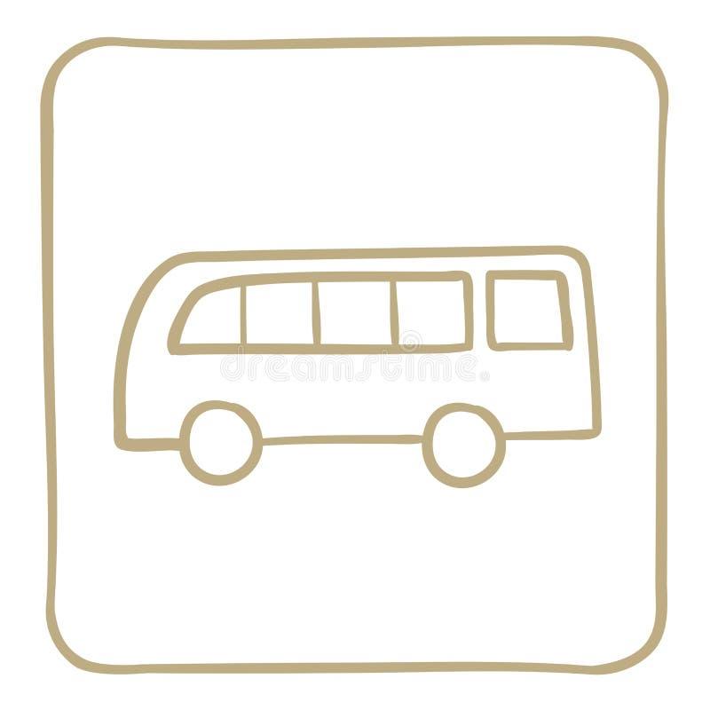 icono del autobús del pasajero en marco marrón claro Gráficos de vector ilustración del vector