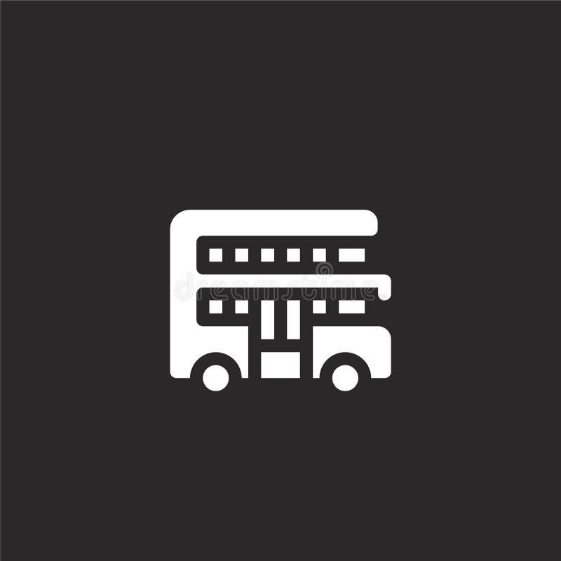 icono del autob?s de dos pisos Icono llenado del autobús de dos pisos para el diseño y el móvil, desarrollo de la página web del  libre illustration