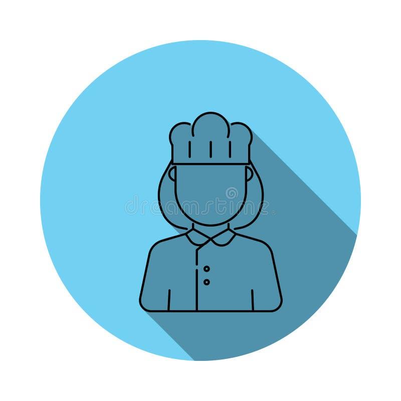 Icono del avatar del cocinero de la mujer Los elementos del avatar en azul colorearon completamente el icono Icono superior del d stock de ilustración