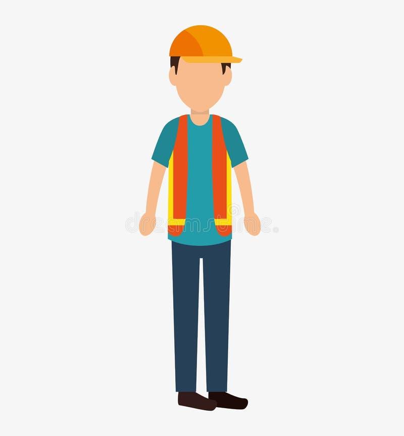 Icono del avatar de la construcción del trabajador ilustración del vector