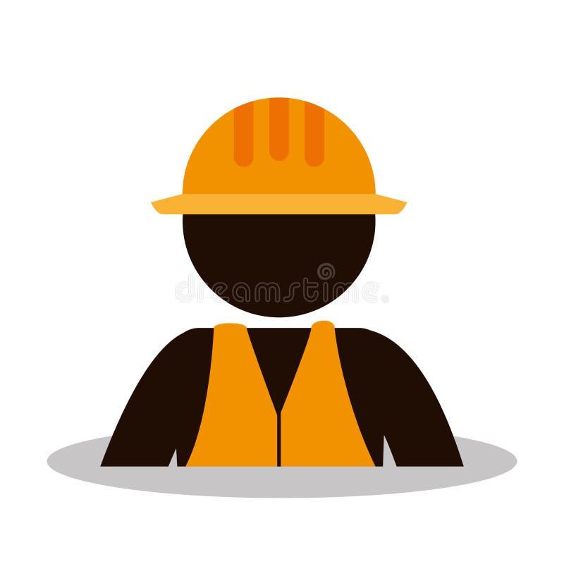 Icono del avatar de la construcción del trabajador stock de ilustración