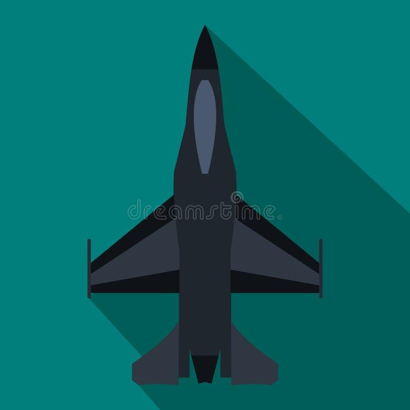Icono del avión de combate en estilo plano stock de ilustración