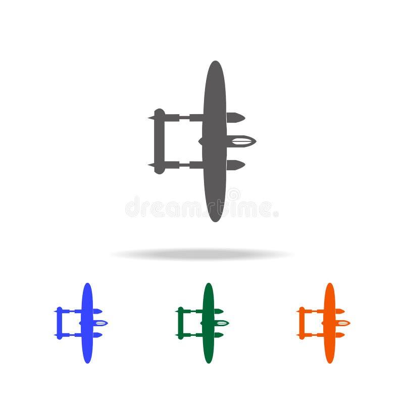 Icono del avión de Lockheed del bombardeo Elementos de aviones militares en los iconos coloreados multi para los apps móviles del libre illustration