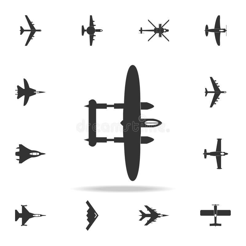 Icono del avión de Lockheed del bombardeo Sistema detallado de iconos del avión del ejército Diseño gráfico superior Uno de los i libre illustration