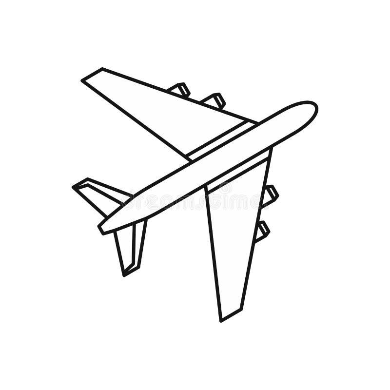 Icono del avión de pasajeros del pasajero, estilo del esquema libre illustration