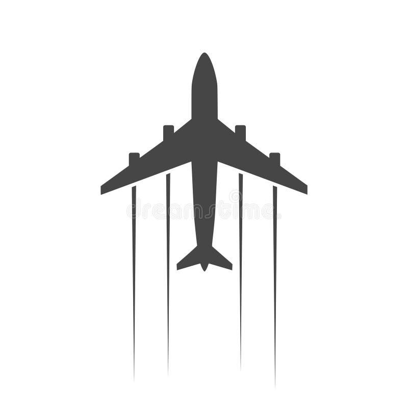 Icono del avión y del aeroplano stock de ilustración