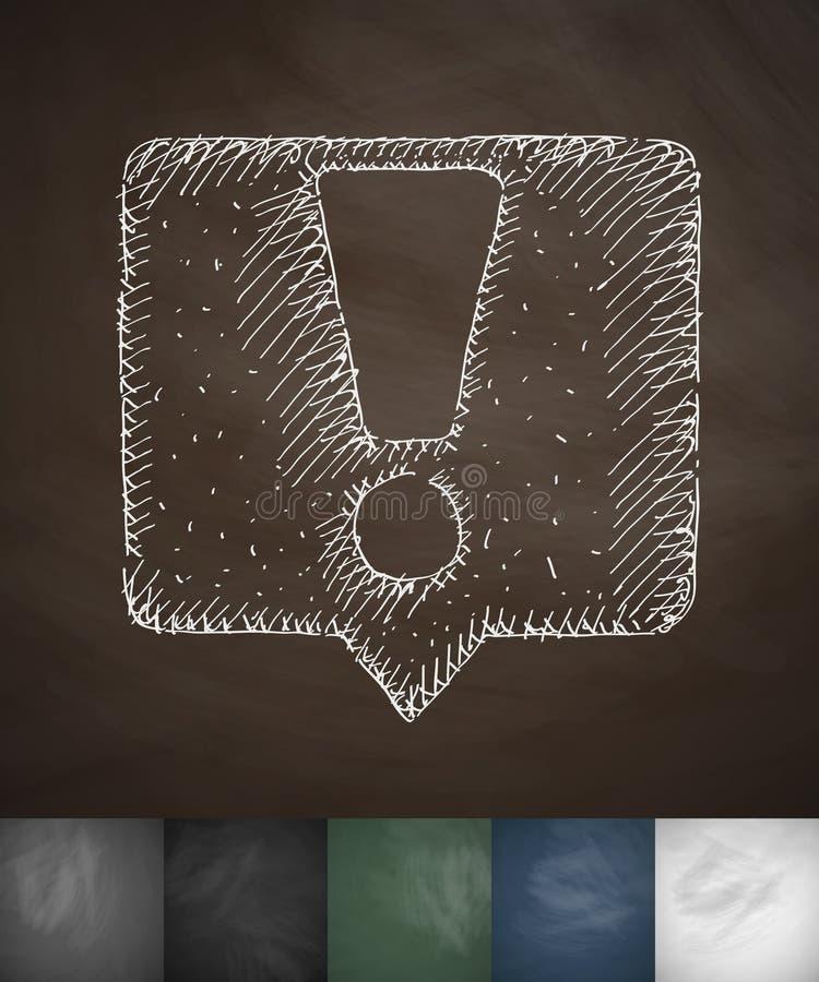 Icono del aviso Ilustración drenada mano del vector stock de ilustración