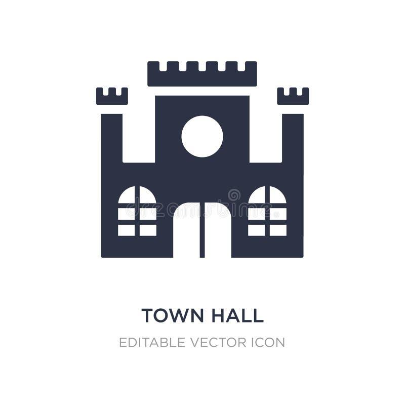 icono del ayuntamiento en el fondo blanco Ejemplo simple del elemento del concepto de los edificios ilustración del vector