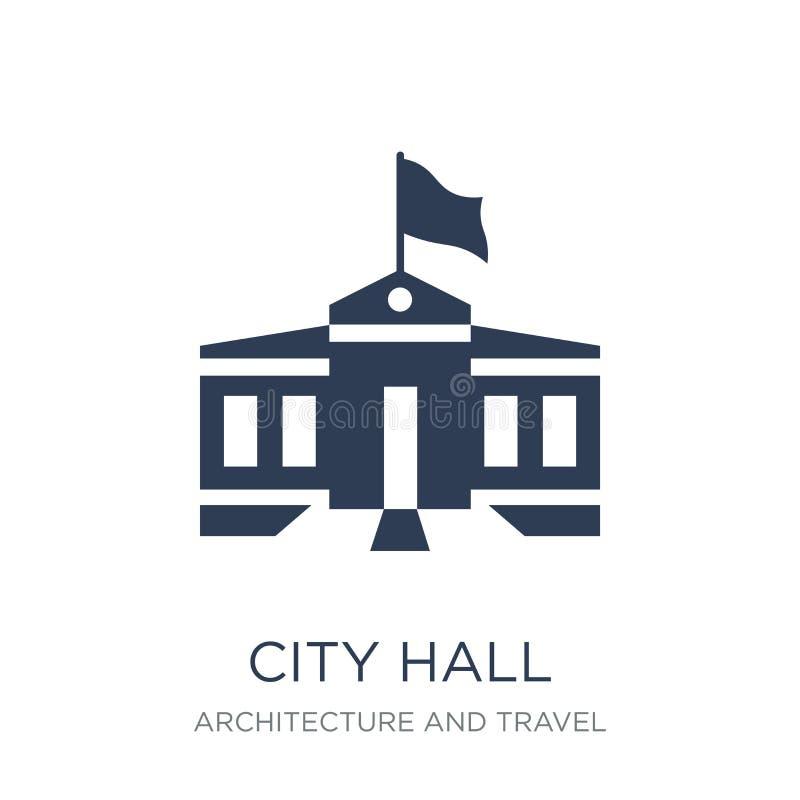 Icono del ayuntamiento Icono plano de moda del ayuntamiento del vector en el backg blanco libre illustration
