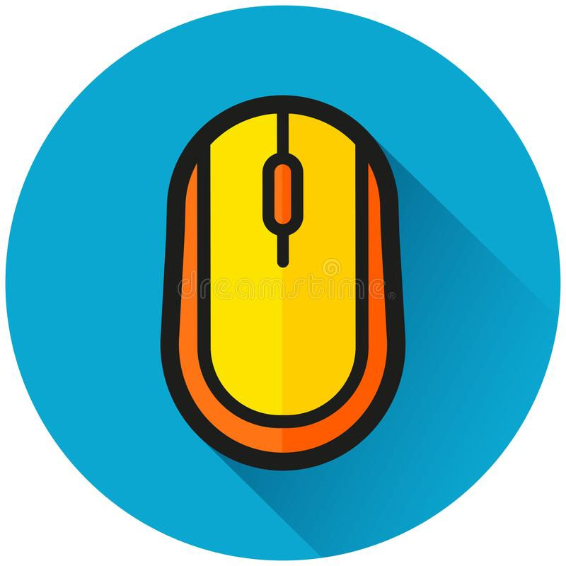 Icono del azul del círculo del ratón del ordenador stock de ilustración