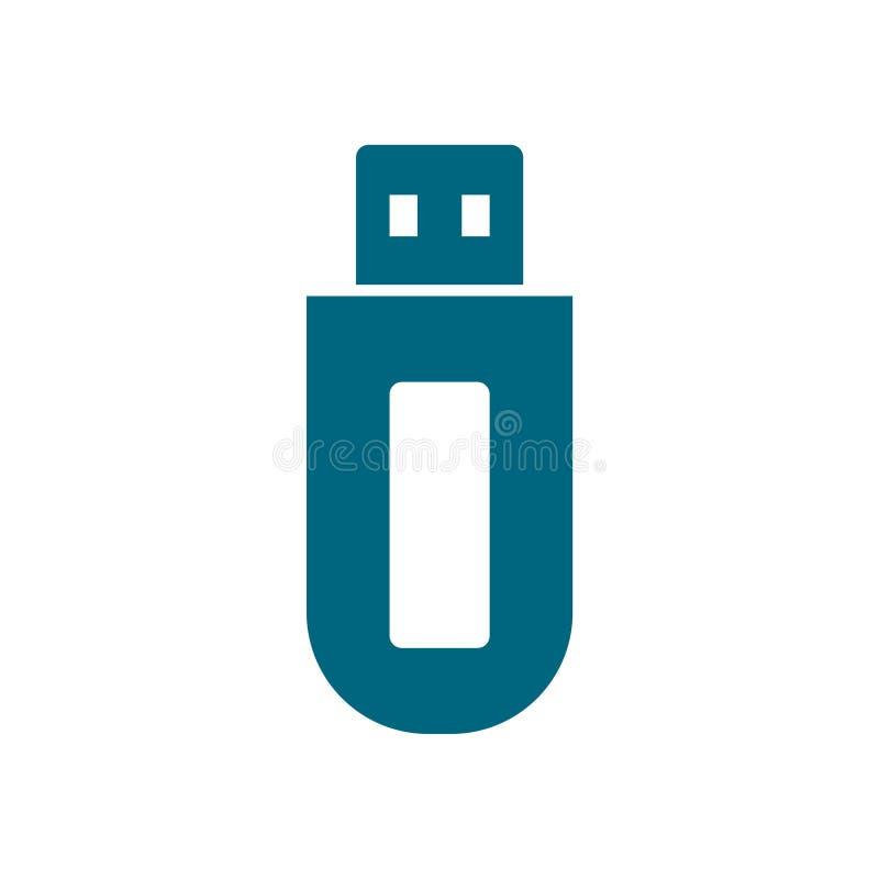 Icono del azul del USB ilustración del vector