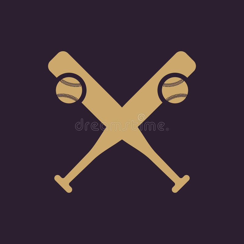 Icono del béisbol Símbolo del deporte plano stock de ilustración