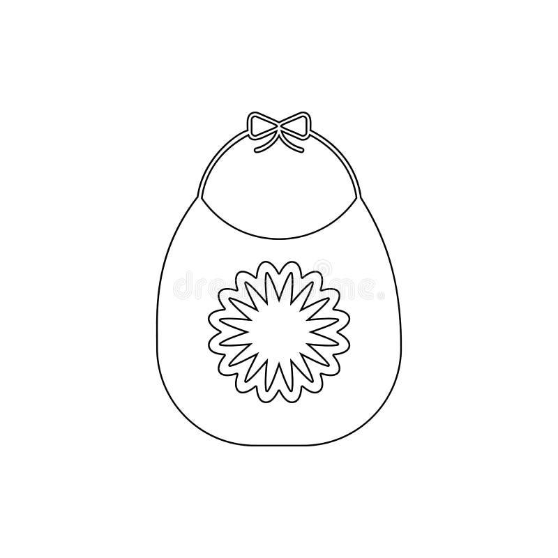 Icono del babero del bebé Elemento de la seguridad cibernética para el concepto y el icono móviles de los apps de la web Línea fi ilustración del vector