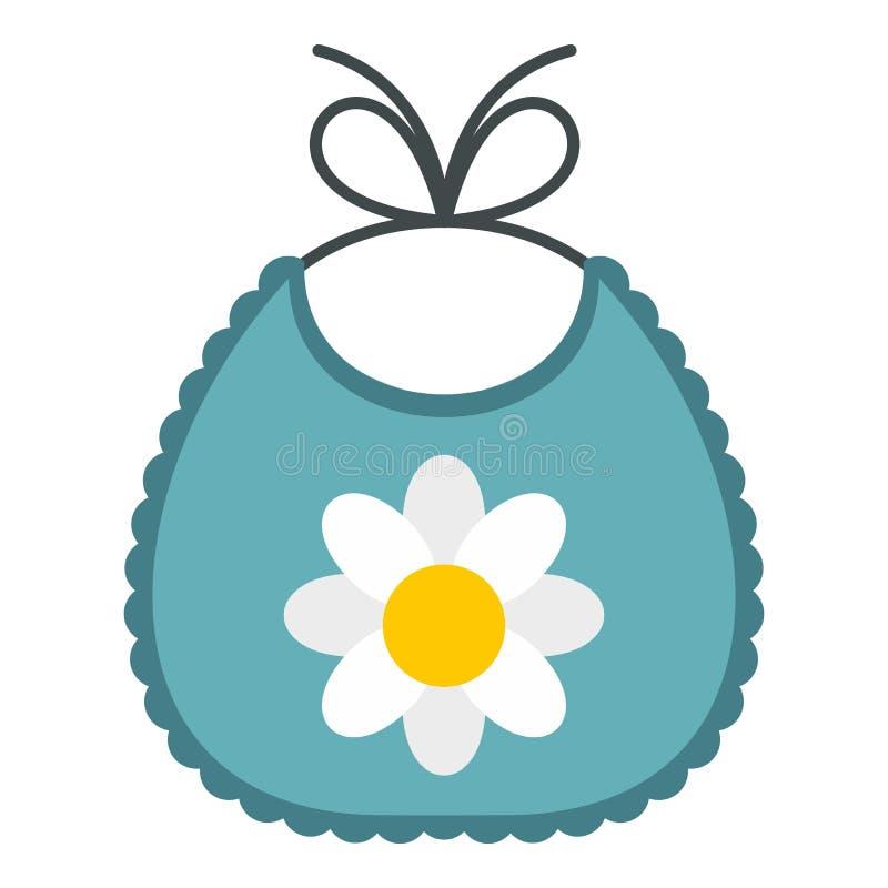 Icono del babero del bebé, estilo plano ilustración del vector