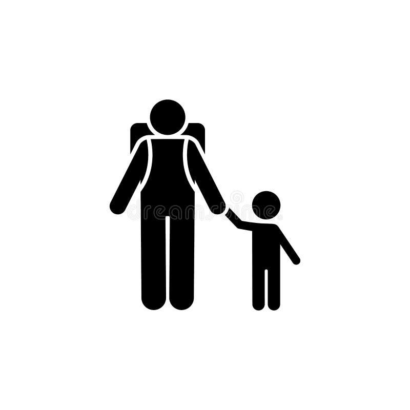 Icono del backpacker de la aventura del niño del hombre Elemento del ejemplo de la aventura del pictograma libre illustration