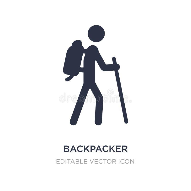 icono del backpacker en el fondo blanco Ejemplo simple del elemento del concepto del viaje stock de ilustración
