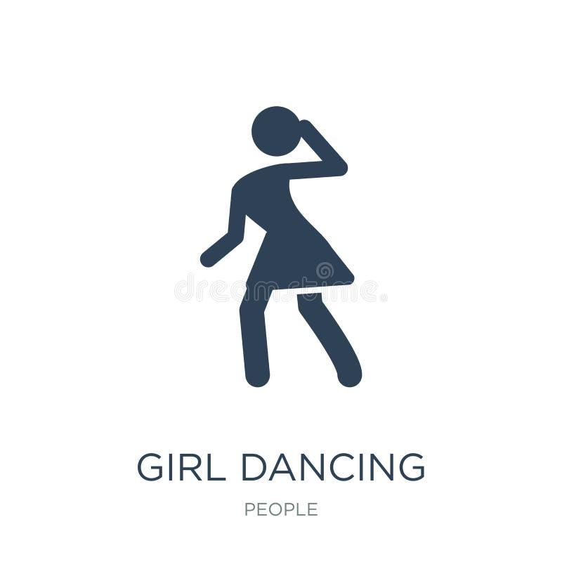 icono del baile de la muchacha en estilo de moda del diseño icono del baile de la muchacha aislado en el fondo blanco icono del v libre illustration