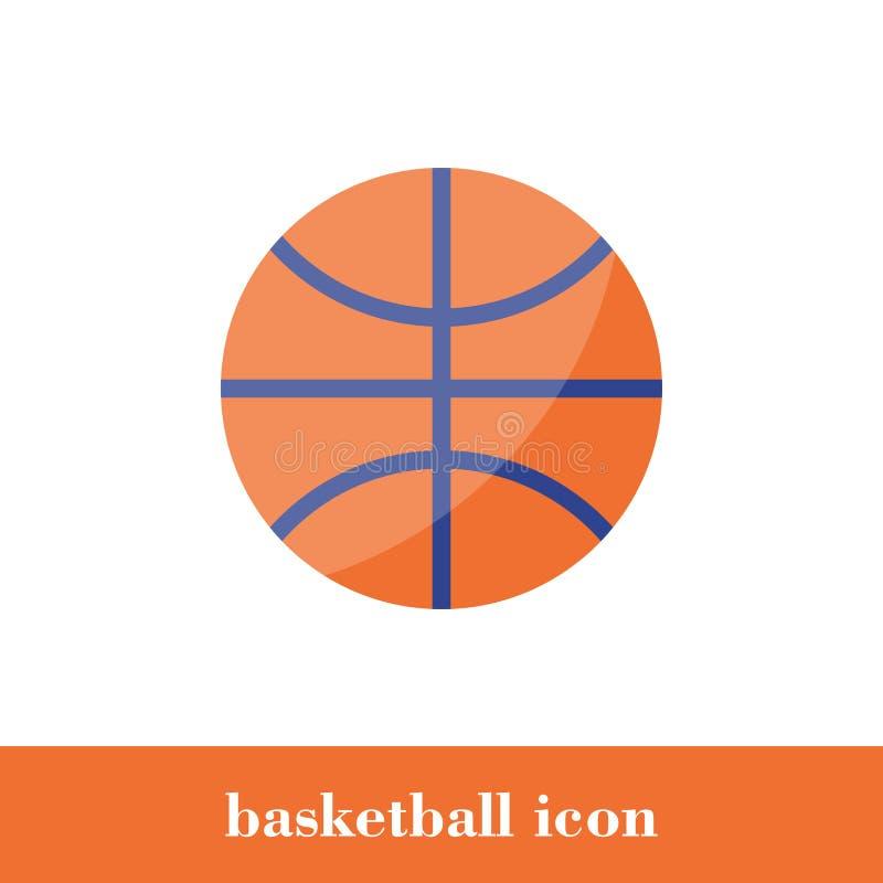 Icono del baloncesto Estilo plano Bola stock de ilustración