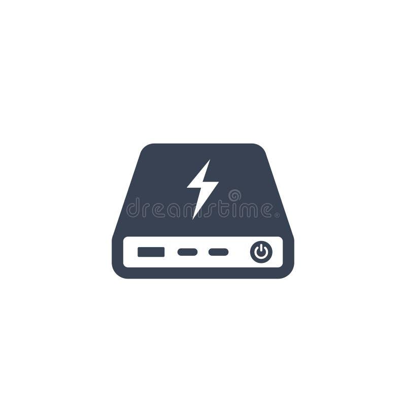Icono del banco del poder aislado en blanco ilustración del vector