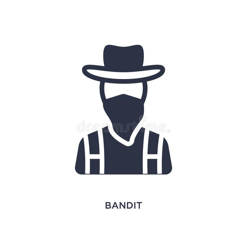 icono del bandido en el fondo blanco Ejemplo simple del elemento del concepto del oeste salvaje stock de ilustración