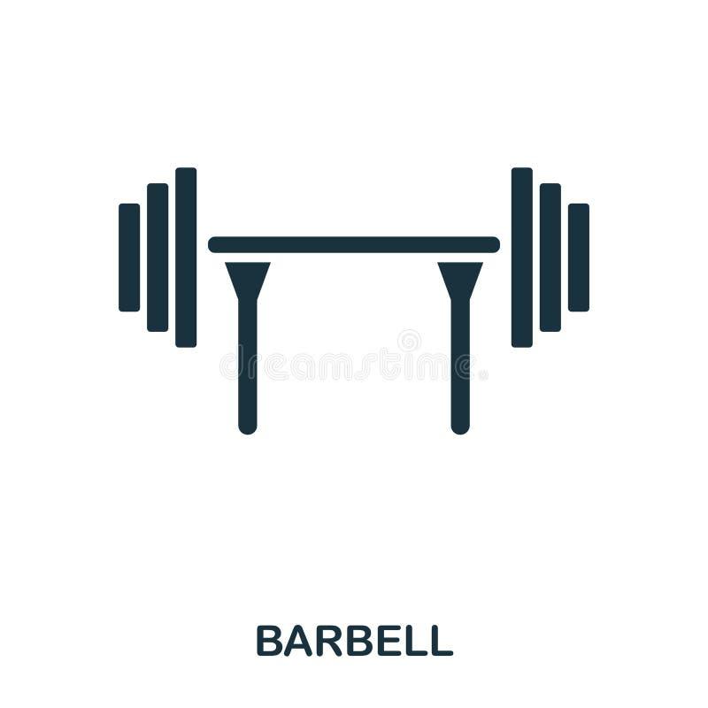 Icono del Barbell Diseño superior del icono del estilo Ui Ejemplo del icono del barbell pictograma aislado en blanco Listo para u fotos de archivo