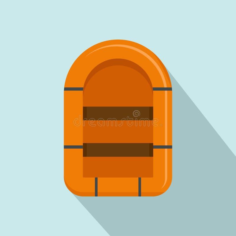 Icono del barco de goma, estilo plano stock de ilustración