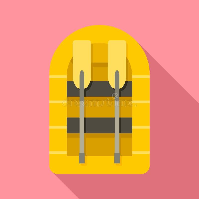 Icono del barco de goma, estilo plano libre illustration