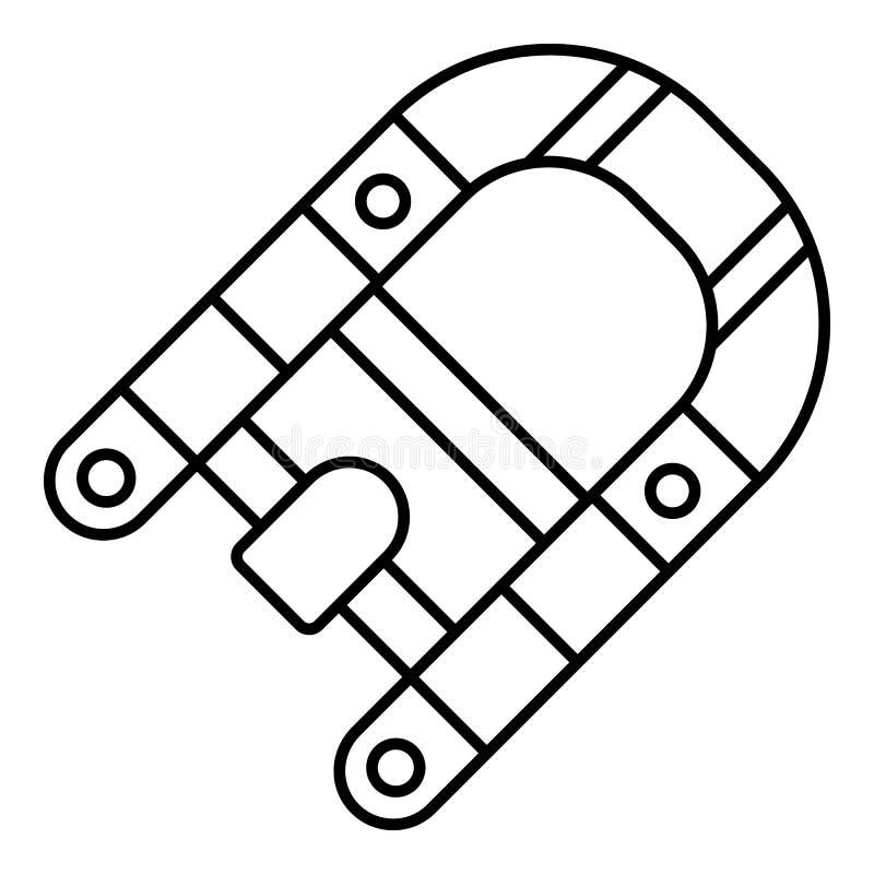 Icono del barco de goma del motor, estilo del esquema ilustración del vector