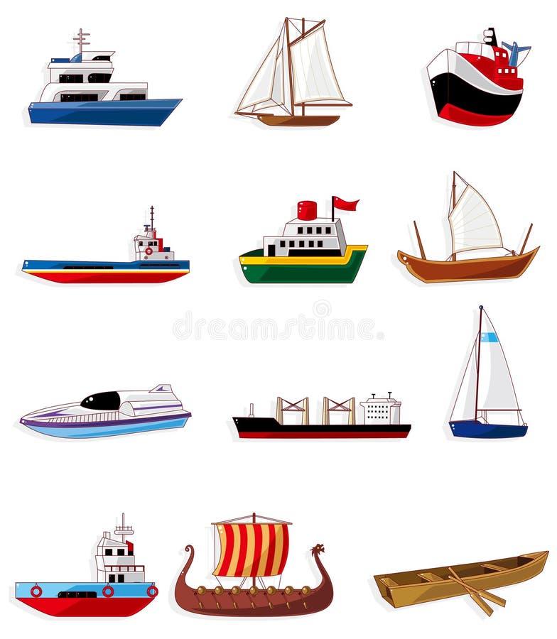 Icono del barco de la historieta stock de ilustración
