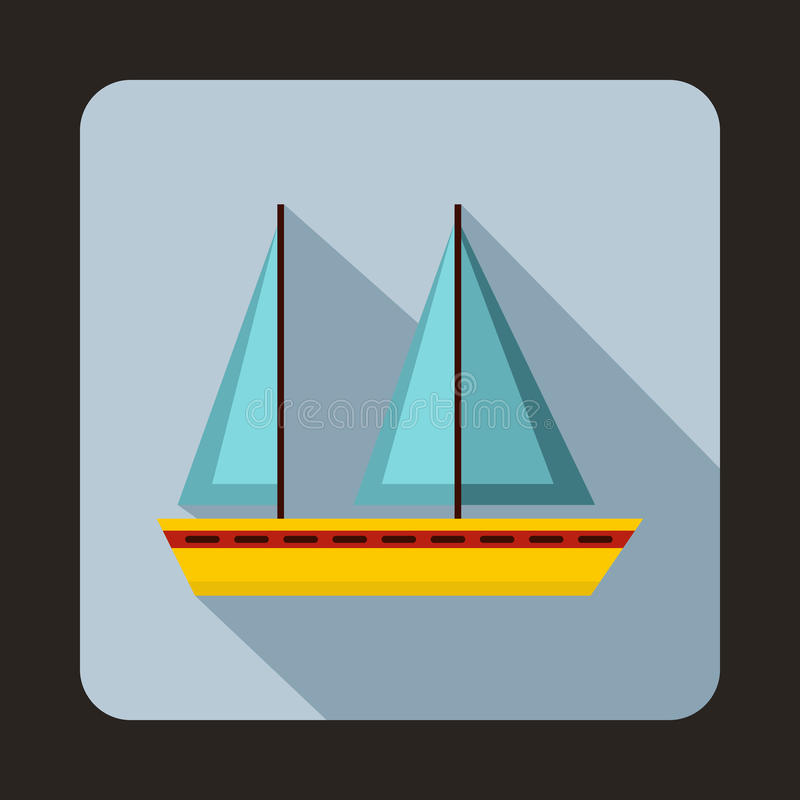 Icono del barco de navegación, estilo plano libre illustration