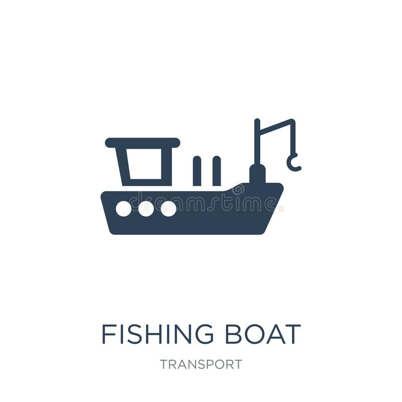 icono del barco de pesca en estilo de moda del diseño icono del barco de pesca aislado en el fondo blanco icono del vector del ba libre illustration