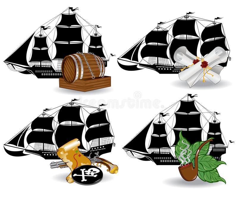 Icono del barco pirata ilustración del vector