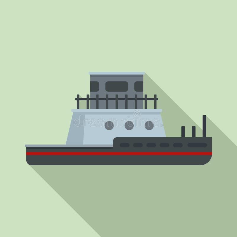 Icono del barco del tirón, estilo plano ilustración del vector