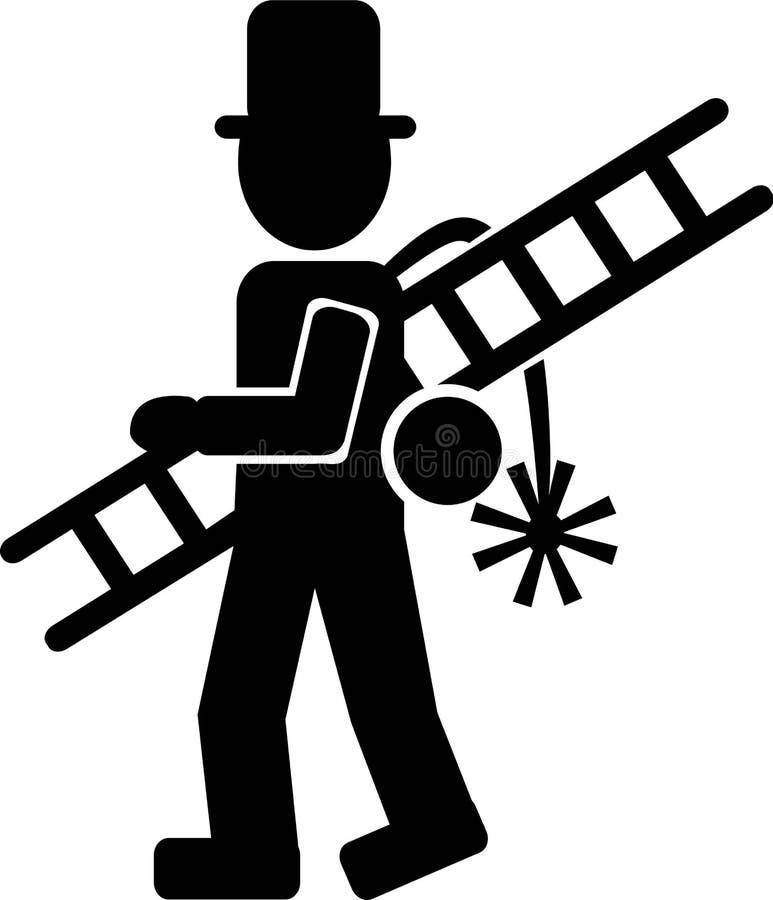 Icono del barrendero de la chimenea stock de ilustración