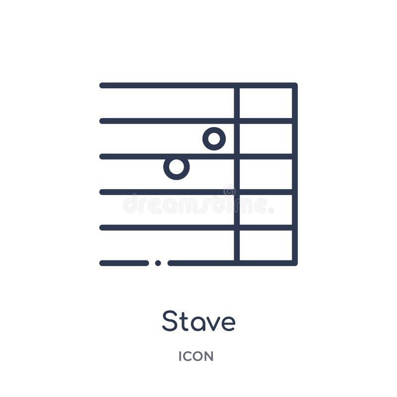 Icono del bastón de la música y de la colección del esquema de los medios Línea fina icono del bastón aislado en el fondo blanco stock de ilustración