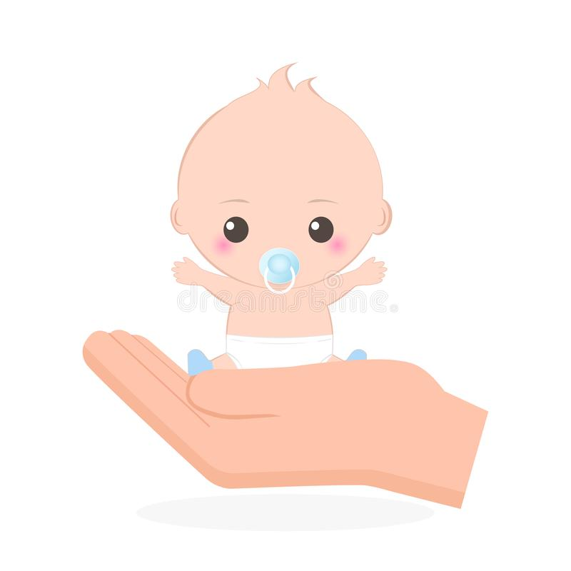 Icono del bebé, cuidado o ejemplo disponible de la protección stock de ilustración