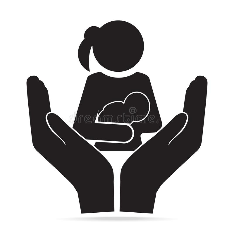 Icono del bebé de la tenencia de la madre a disposición Protección o cuidado para la salud del concepto del bebé y de la madre libre illustration