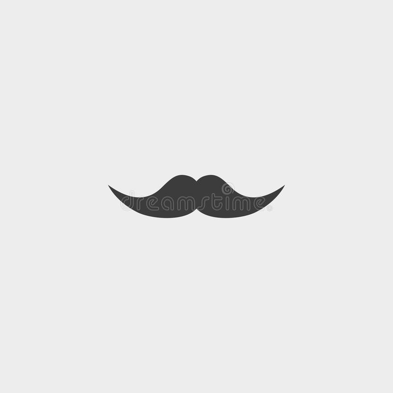 Icono del bigote en un diseño plano en color negro Ilustración EPS10 del vector ilustración del vector