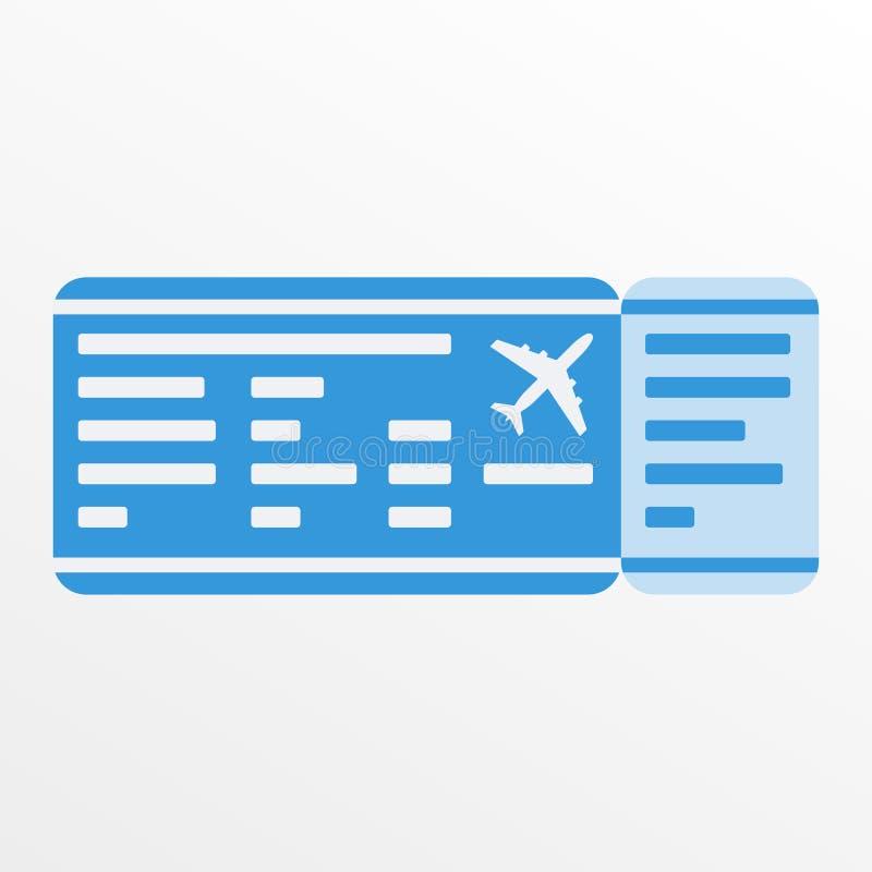 Icono del billete de avión o del documento de embarque Espacio en blanco del boleto plano Ilustración del vector ilustración del vector